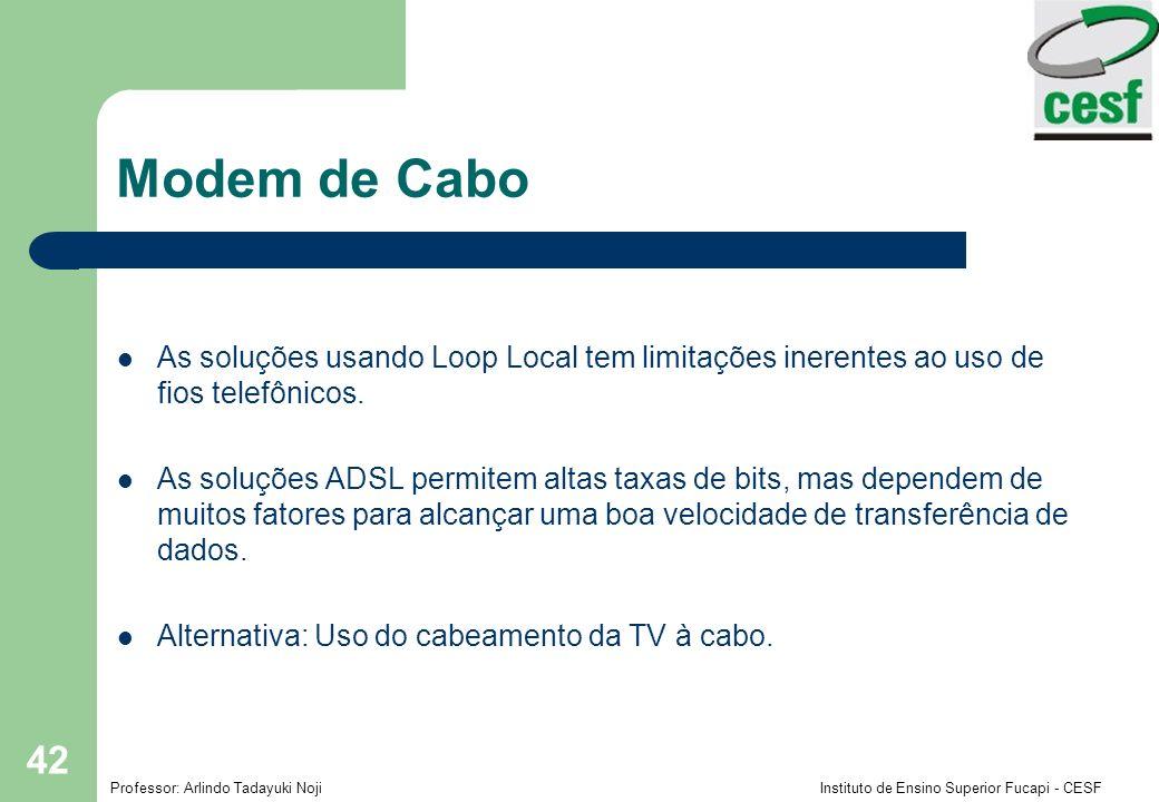 Modem de Cabo As soluções usando Loop Local tem limitações inerentes ao uso de fios telefônicos.