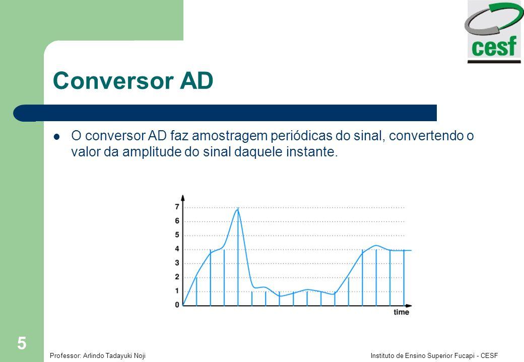 Conversor AD O conversor AD faz amostragem periódicas do sinal, convertendo o valor da amplitude do sinal daquele instante.