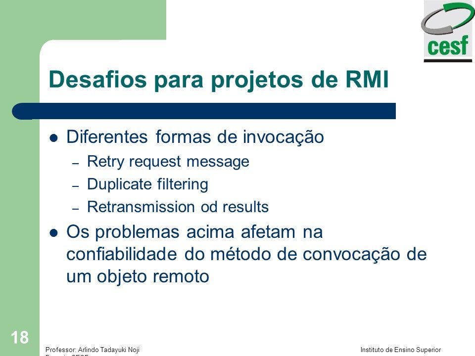 Desafios para projetos de RMI