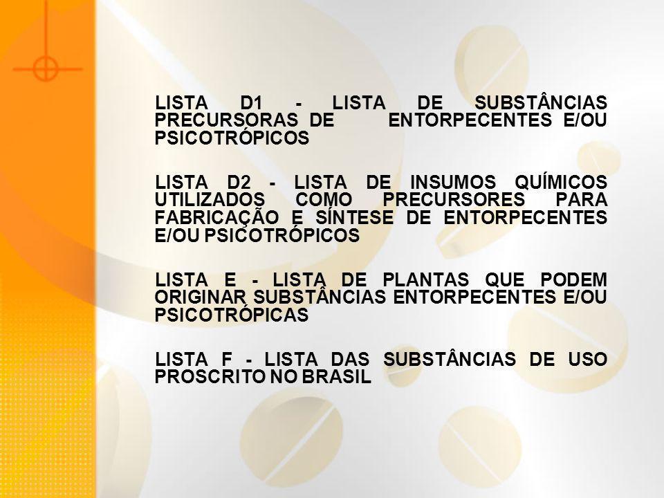 LISTA D1 - LISTA DE SUBSTÂNCIAS PRECURSORAS DE ENTORPECENTES E/OU PSICOTRÓPICOS