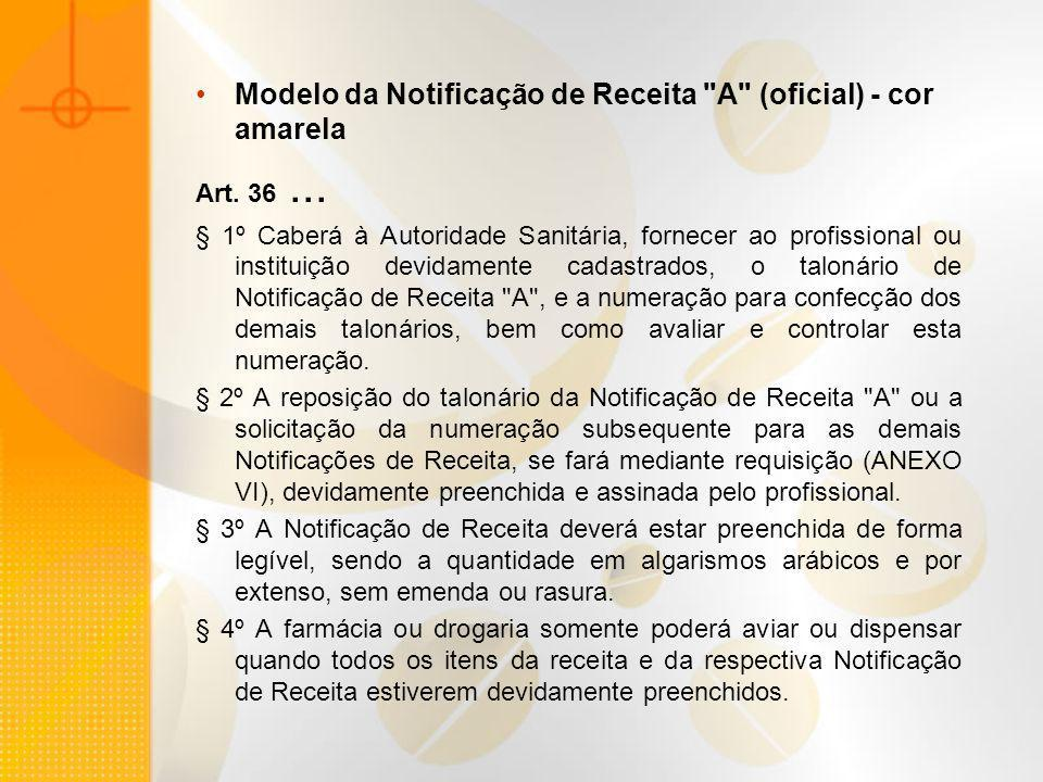 Modelo da Notificação de Receita A (oficial) - cor amarela