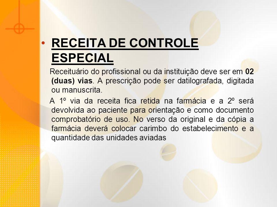 RECEITA DE CONTROLE ESPECIAL