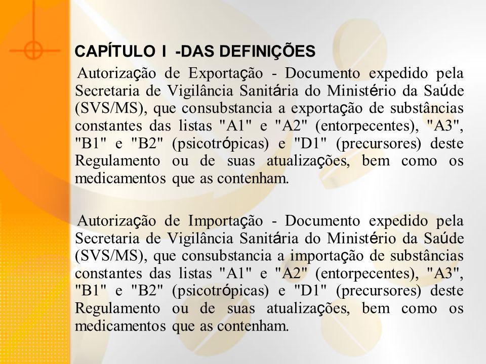 CAPÍTULO I -DAS DEFINIÇÕES