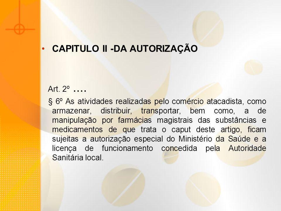 CAPITULO II -DA AUTORIZAÇÃO