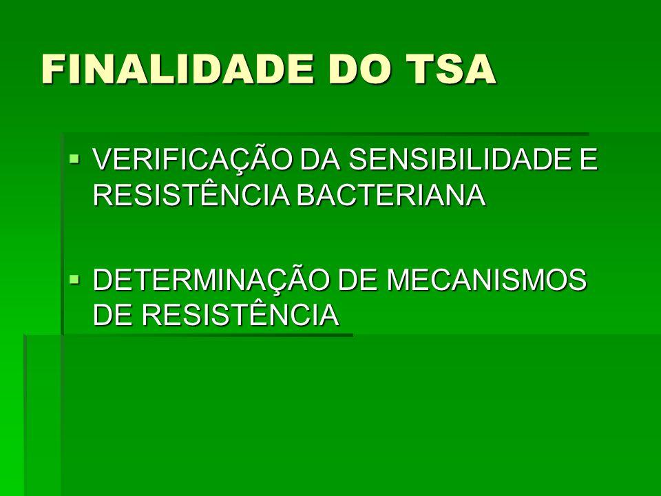 FINALIDADE DO TSA VERIFICAÇÃO DA SENSIBILIDADE E RESISTÊNCIA BACTERIANA.