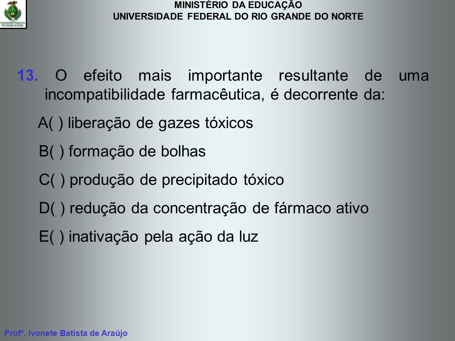 13. O efeito mais importante resultante de uma incompatibilidade farmacêutica, é decorrente da: