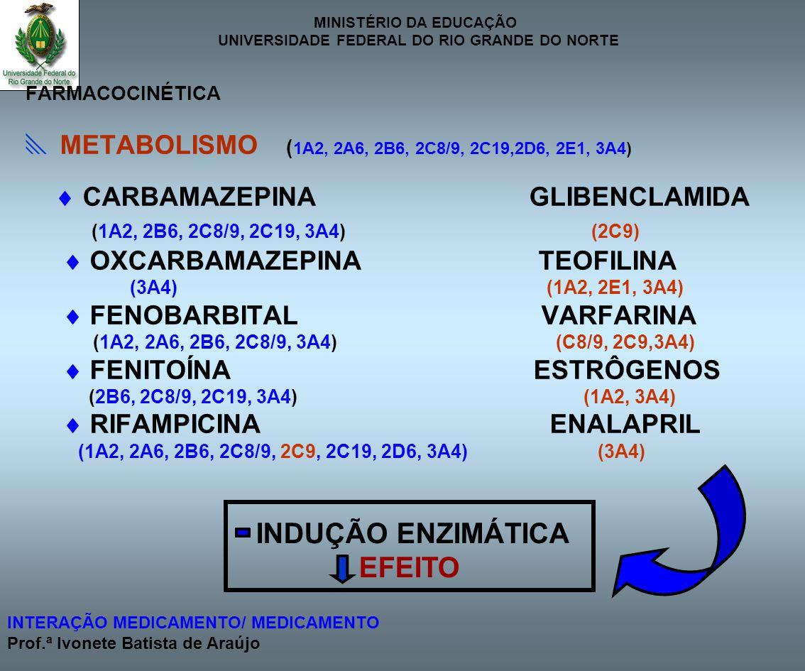 EFEITO  METABOLISMO (1A2, 2A6, 2B6, 2C8/9, 2C19,2D6, 2E1, 3A4)