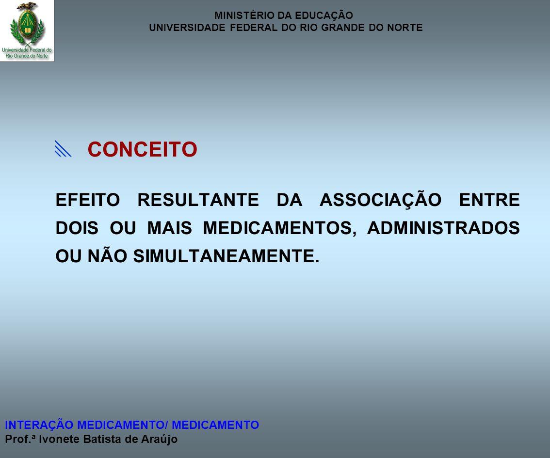  CONCEITO EFEITO RESULTANTE DA ASSOCIAÇÃO ENTRE DOIS OU MAIS MEDICAMENTOS, ADMINISTRADOS OU NÃO SIMULTANEAMENTE.