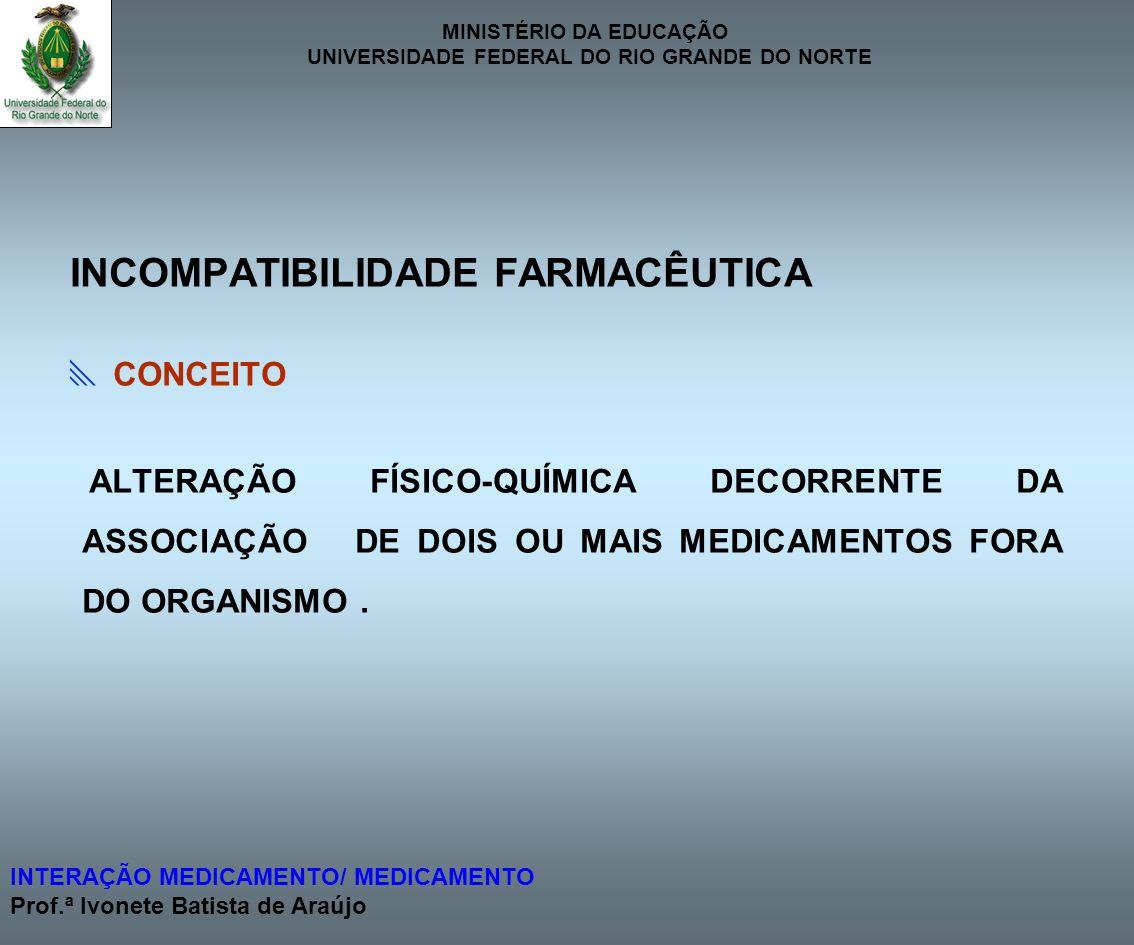 INCOMPATIBILIDADE FARMACÊUTICA
