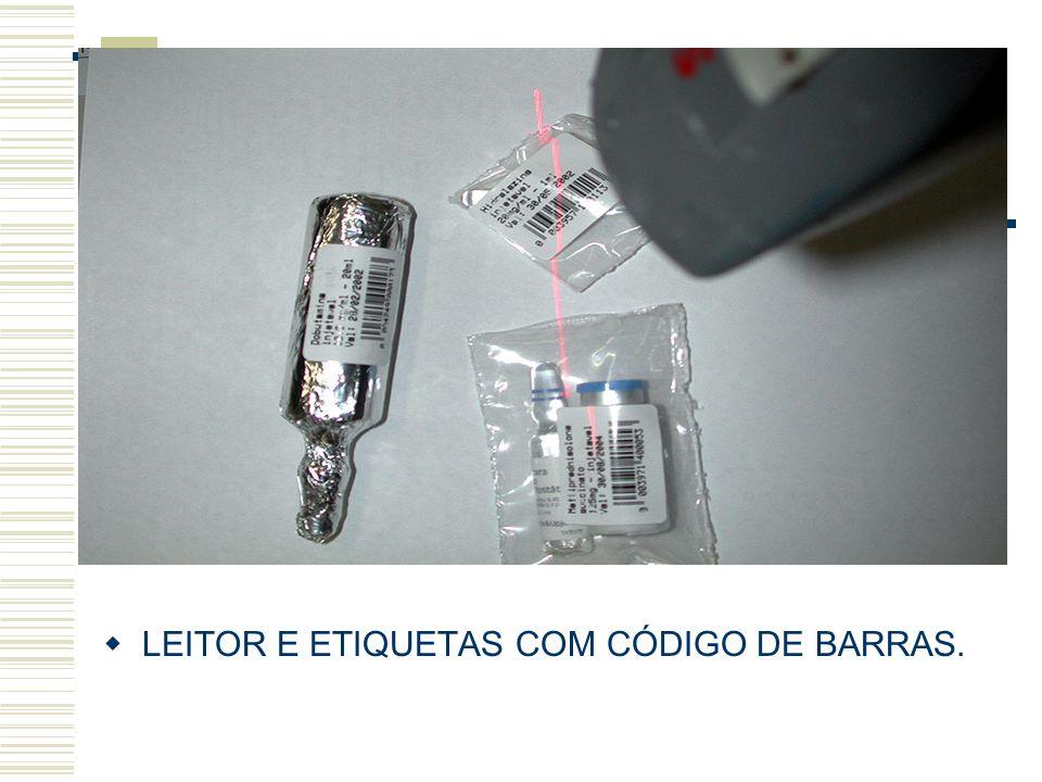 LEITOR E ETIQUETAS COM CÓDIGO DE BARRAS.