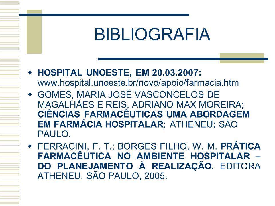 BIBLIOGRAFIA HOSPITAL UNOESTE, EM 20.03.2007: www.hospital.unoeste.br/novo/apoio/farmacia.htm.
