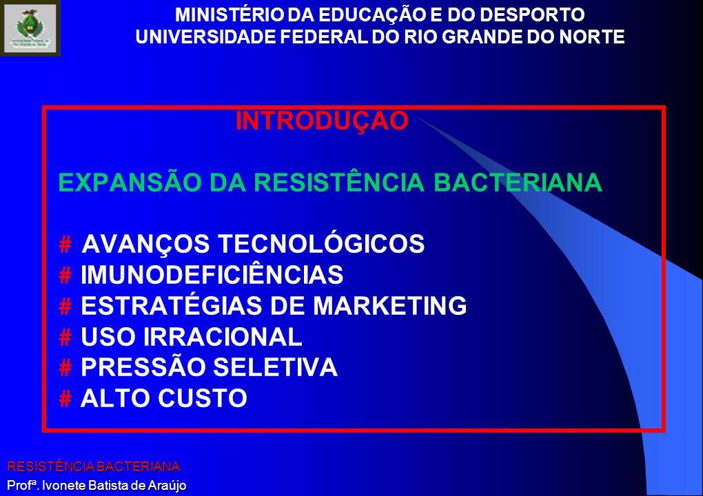 INTRODUÇÃO EXPANSÃO DA RESISTÊNCIA BACTERIANA. # AVANÇOS TECNOLÓGICOS. # IMUNODEFICIÊNCIAS. # ESTRATÉGIAS DE MARKETING.