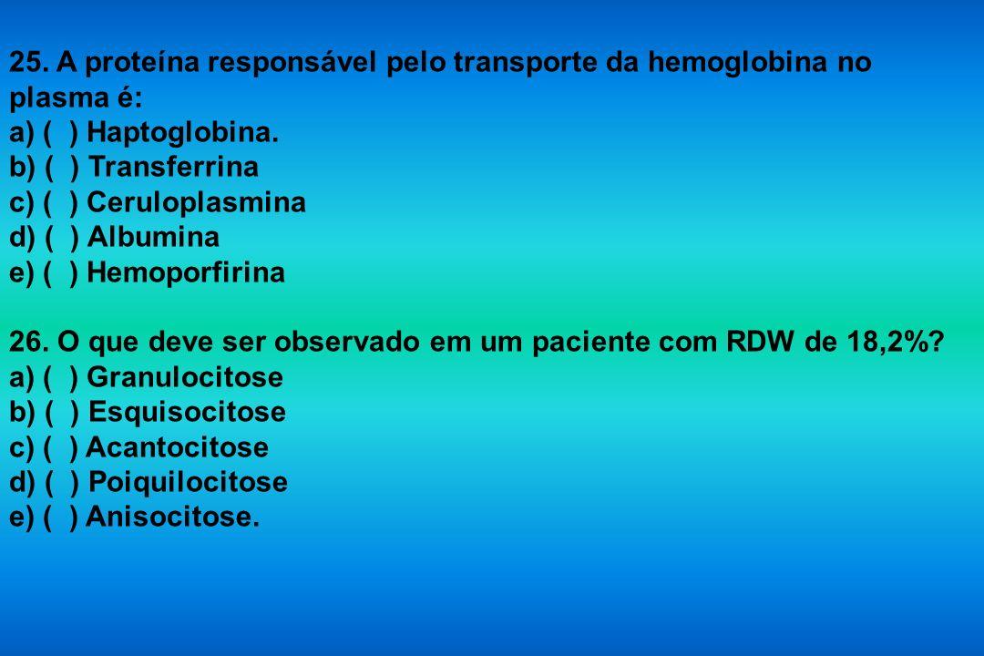 25. A proteína responsável pelo transporte da hemoglobina no plasma é: