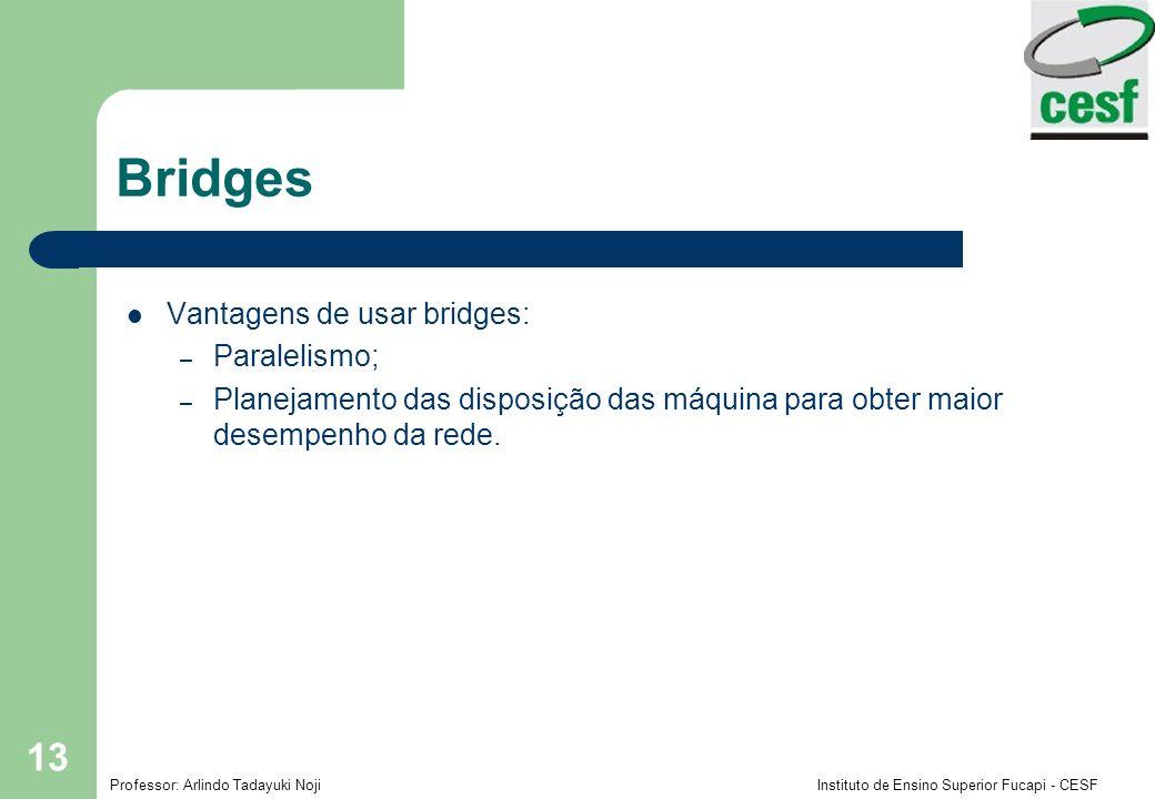 Bridges Vantagens de usar bridges: Paralelismo;