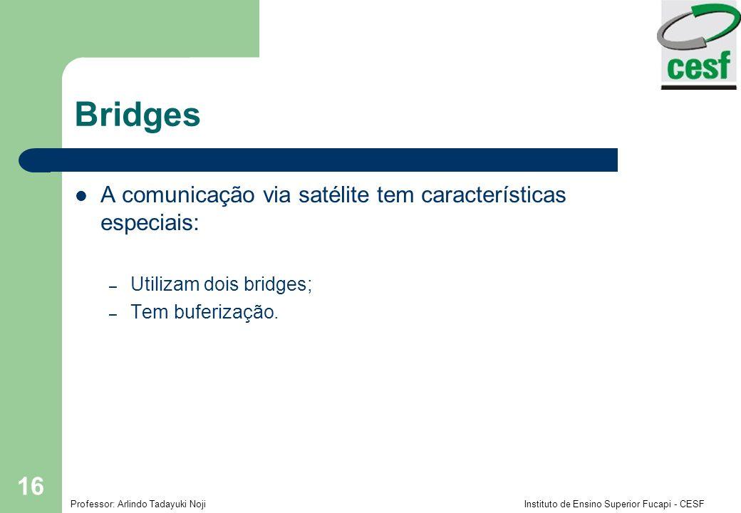 Bridges A comunicação via satélite tem características especiais: