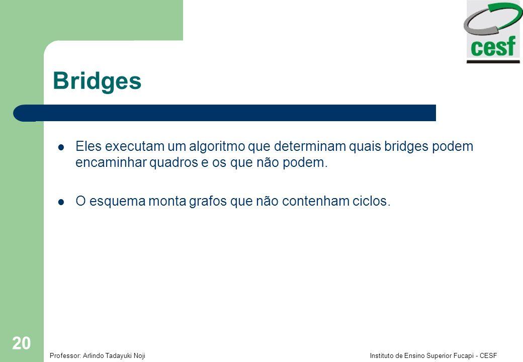 Bridges Eles executam um algoritmo que determinam quais bridges podem encaminhar quadros e os que não podem.
