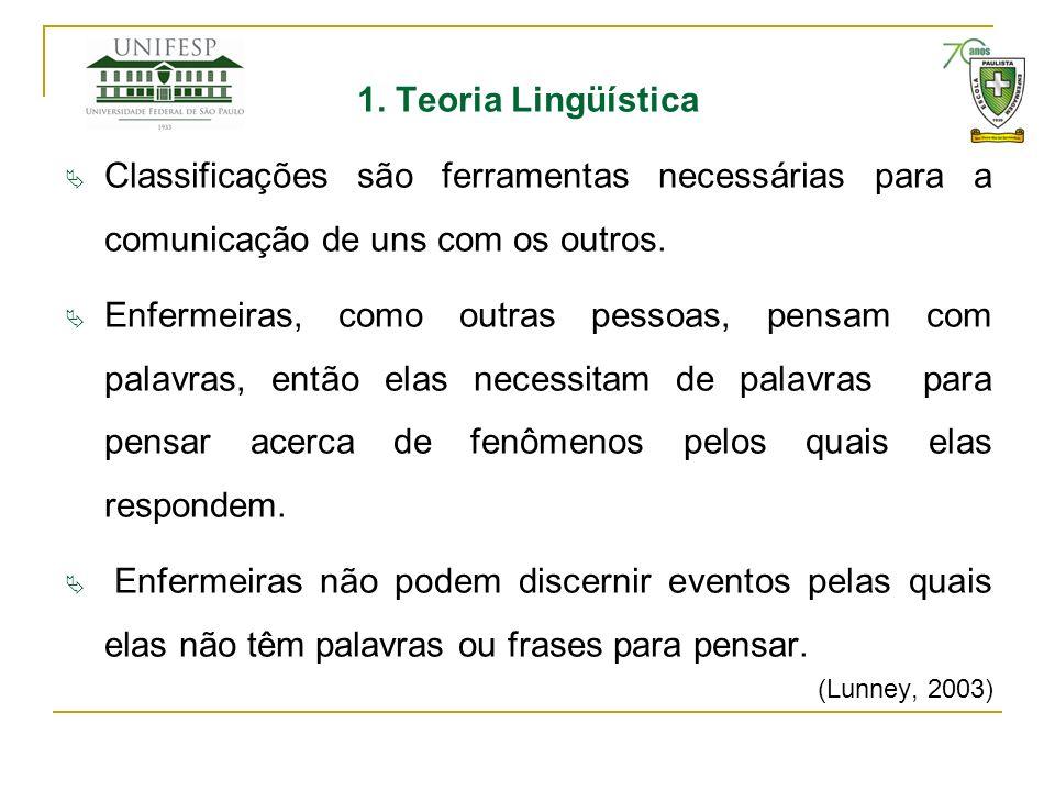1. Teoria Lingüística Classificações são ferramentas necessárias para a comunicação de uns com os outros.