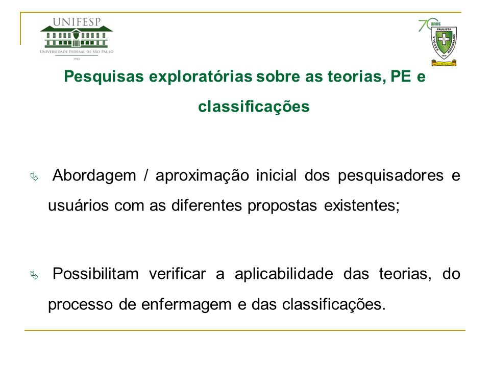 Pesquisas exploratórias sobre as teorias, PE e classificações