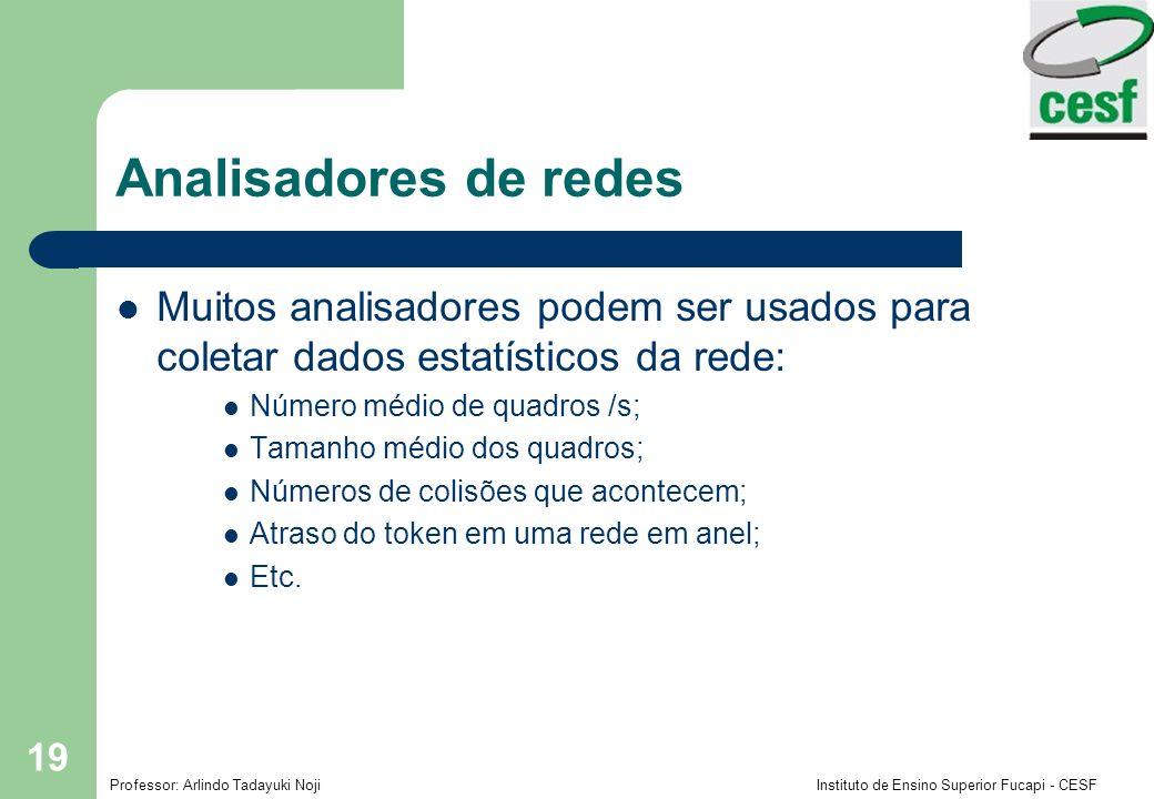 Analisadores de redes Muitos analisadores podem ser usados para coletar dados estatísticos da rede: