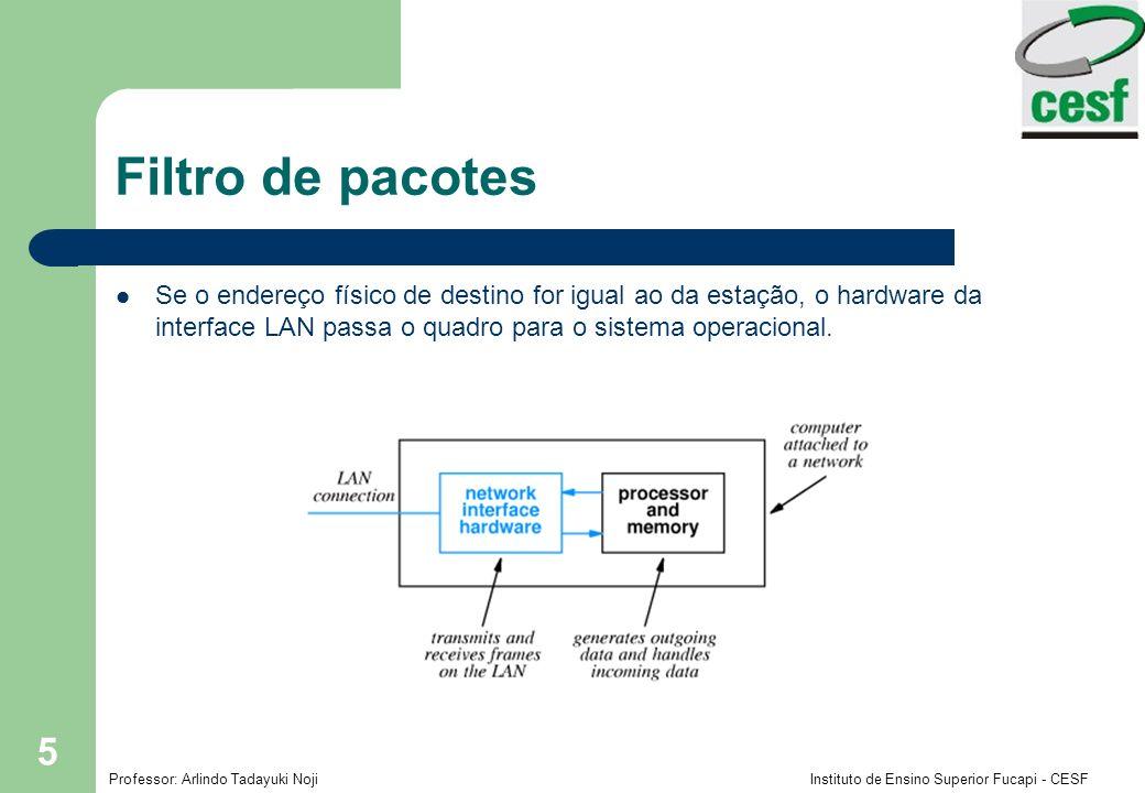Filtro de pacotes Se o endereço físico de destino for igual ao da estação, o hardware da interface LAN passa o quadro para o sistema operacional.