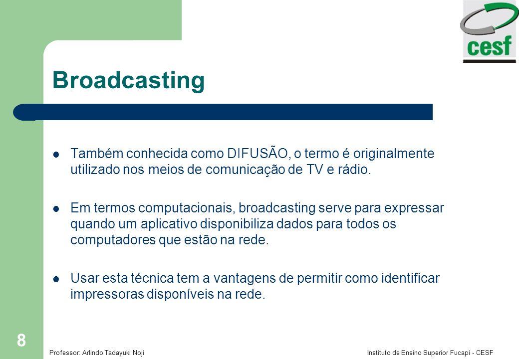 Broadcasting Também conhecida como DIFUSÃO, o termo é originalmente utilizado nos meios de comunicação de TV e rádio.