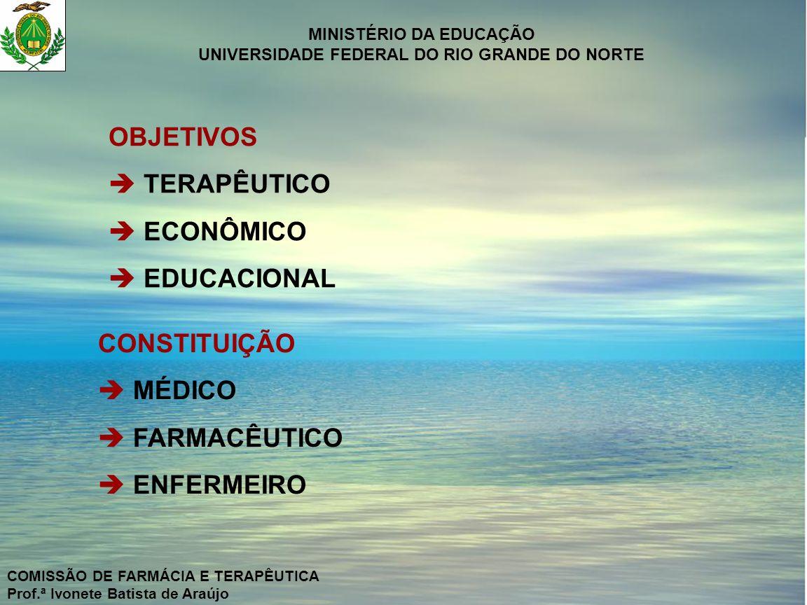 OBJETIVOS  TERAPÊUTICO  ECONÔMICO  EDUCACIONAL CONSTITUIÇÃO