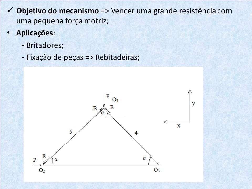 Objetivo do mecanismo => Vencer uma grande resistência com uma pequena força motriz;