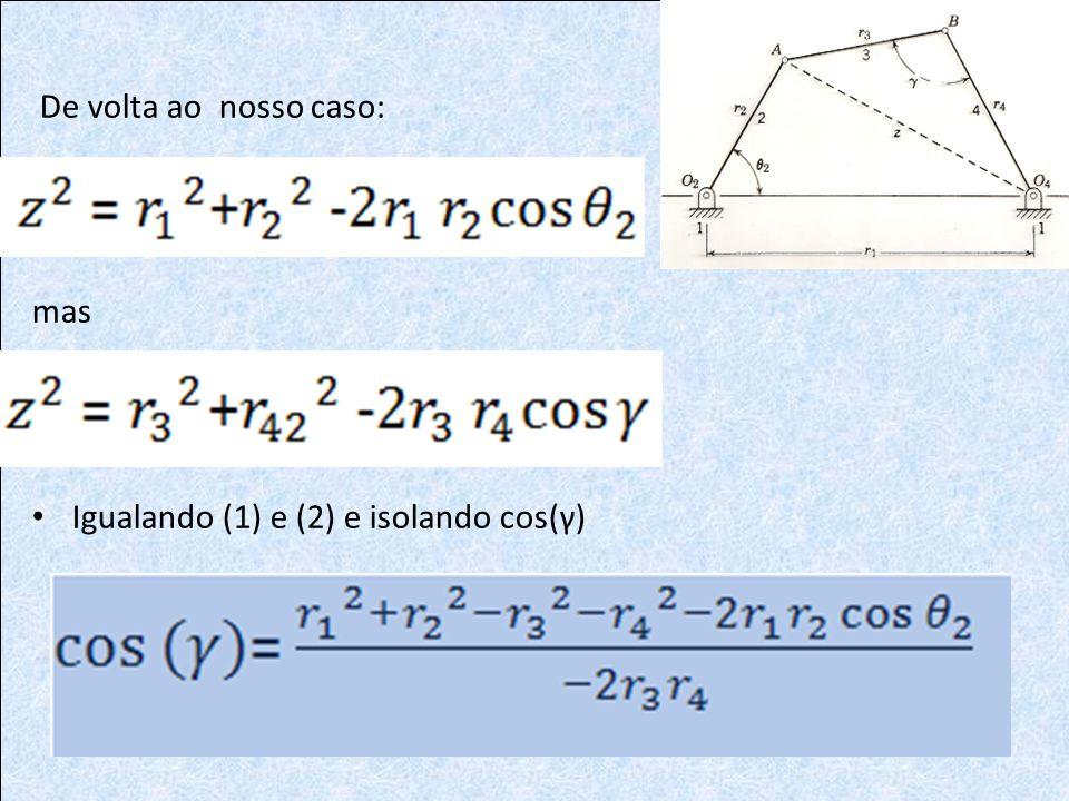 De volta ao nosso caso: mas Igualando (1) e (2) e isolando cos(γ)