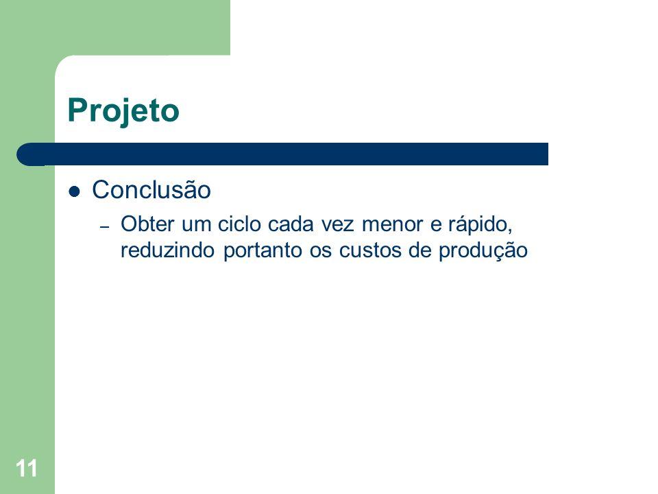 Projeto Conclusão Obter um ciclo cada vez menor e rápido, reduzindo portanto os custos de produção