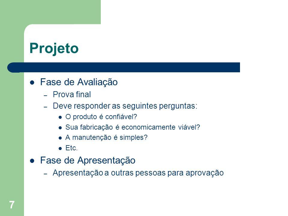 Projeto Fase de Avaliação Fase de Apresentação Prova final