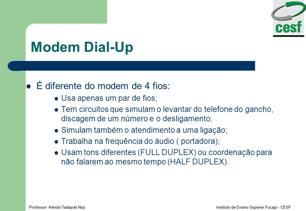 Modem Dial-Up É diferente do modem de 4 fios: