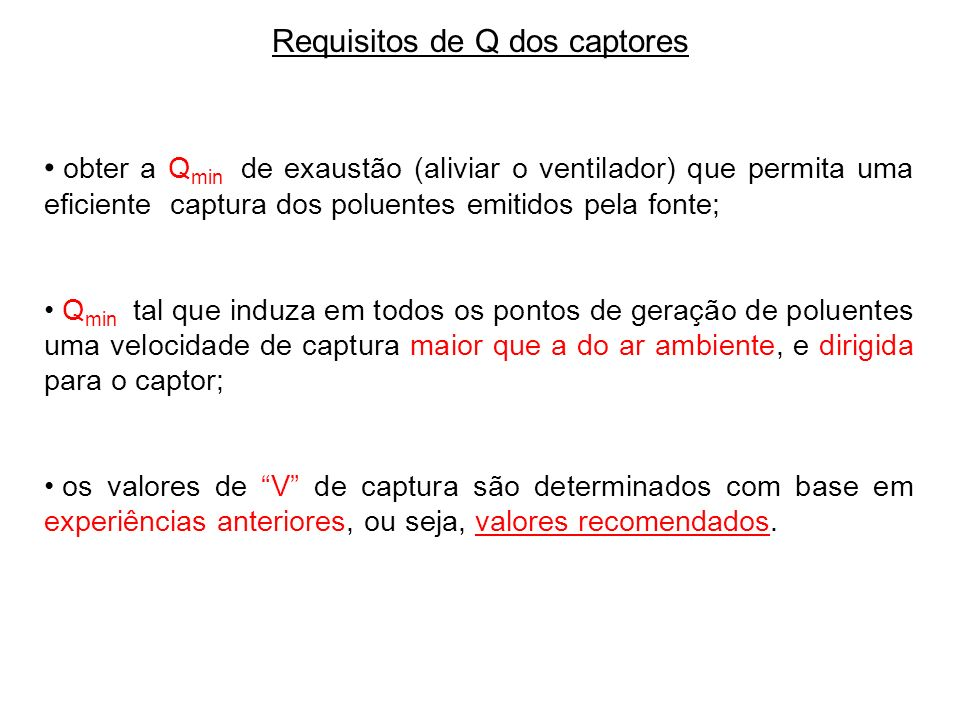 Requisitos de Q dos captores