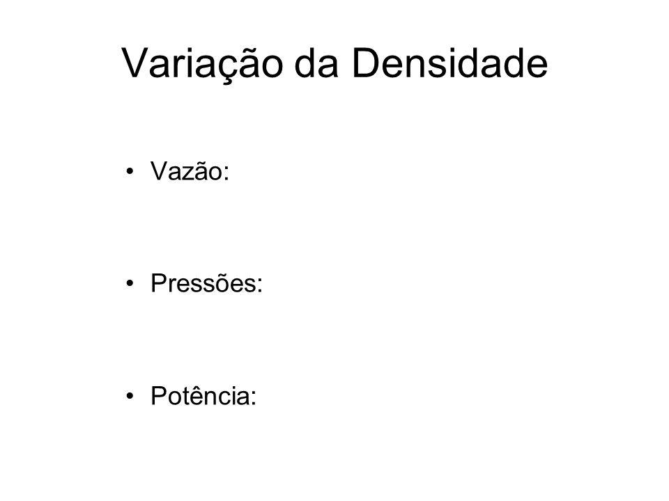 Variação da Densidade Vazão: Pressões: Potência: