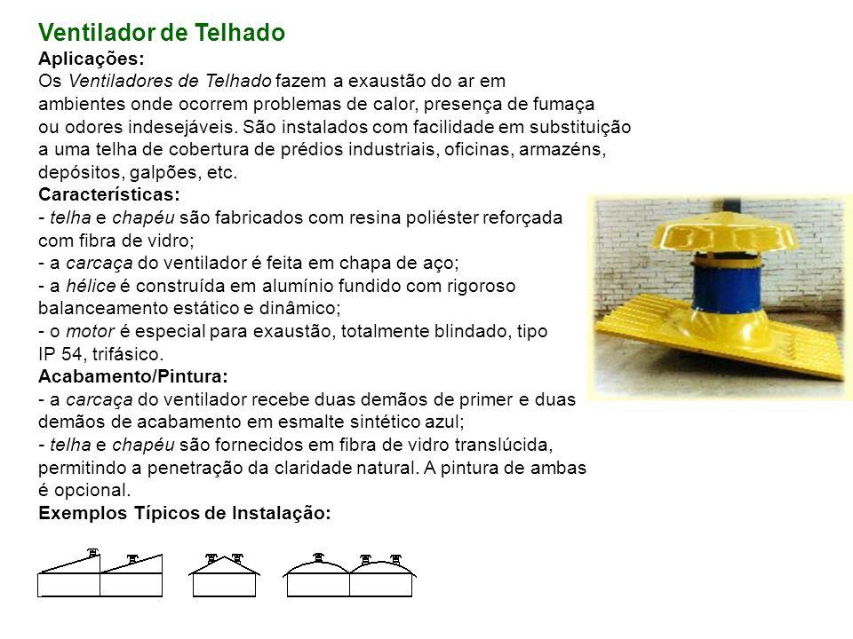 Ventilador de Telhado Aplicações: