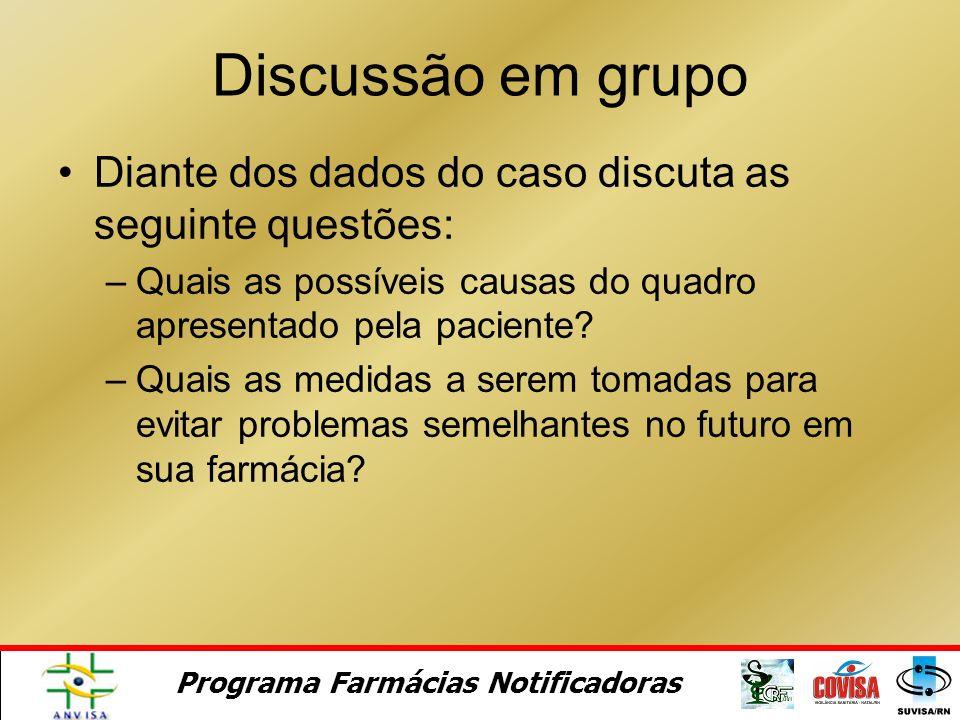 Discussão em grupo Diante dos dados do caso discuta as seguinte questões: Quais as possíveis causas do quadro apresentado pela paciente