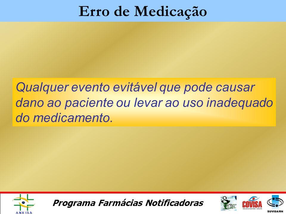 Erro de Medicação Qualquer evento evitável que pode causar dano ao paciente ou levar ao uso inadequado do medicamento.