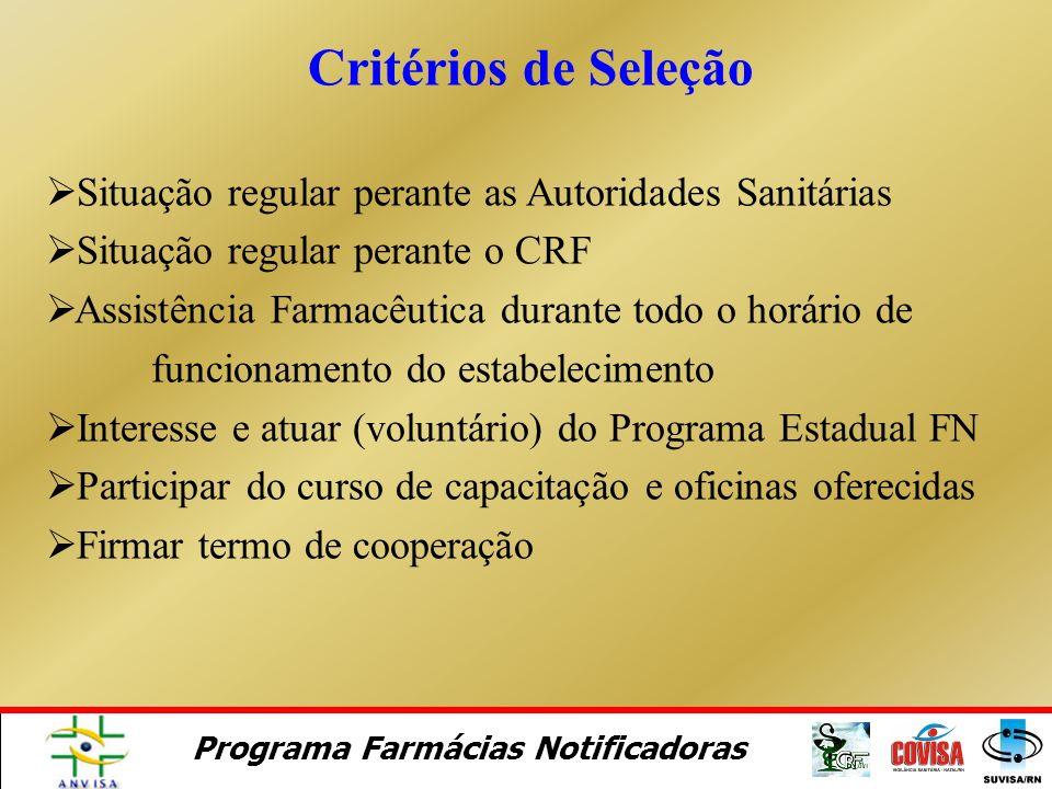 Critérios de Seleção Situação regular perante as Autoridades Sanitárias. Situação regular perante o CRF.