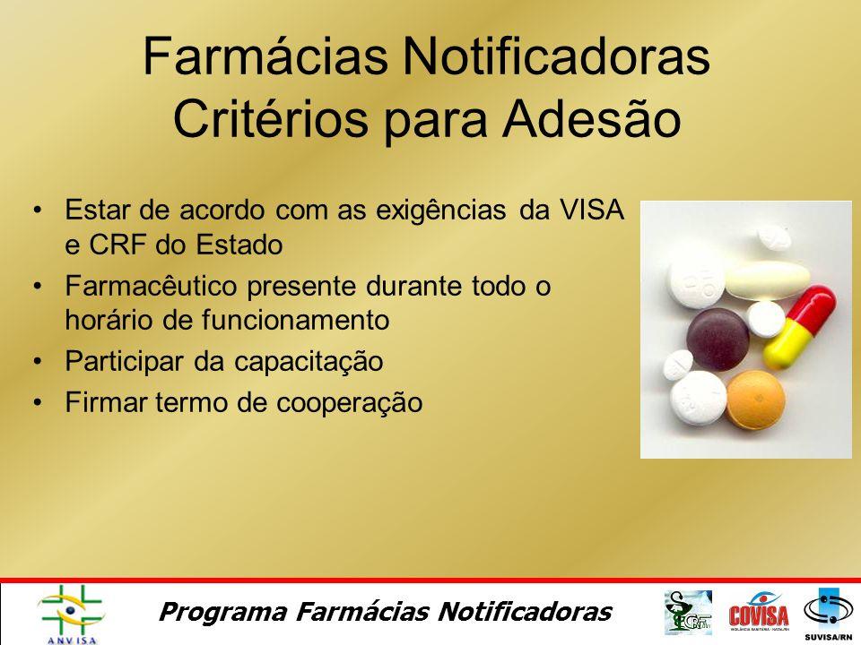 Farmácias Notificadoras Critérios para Adesão