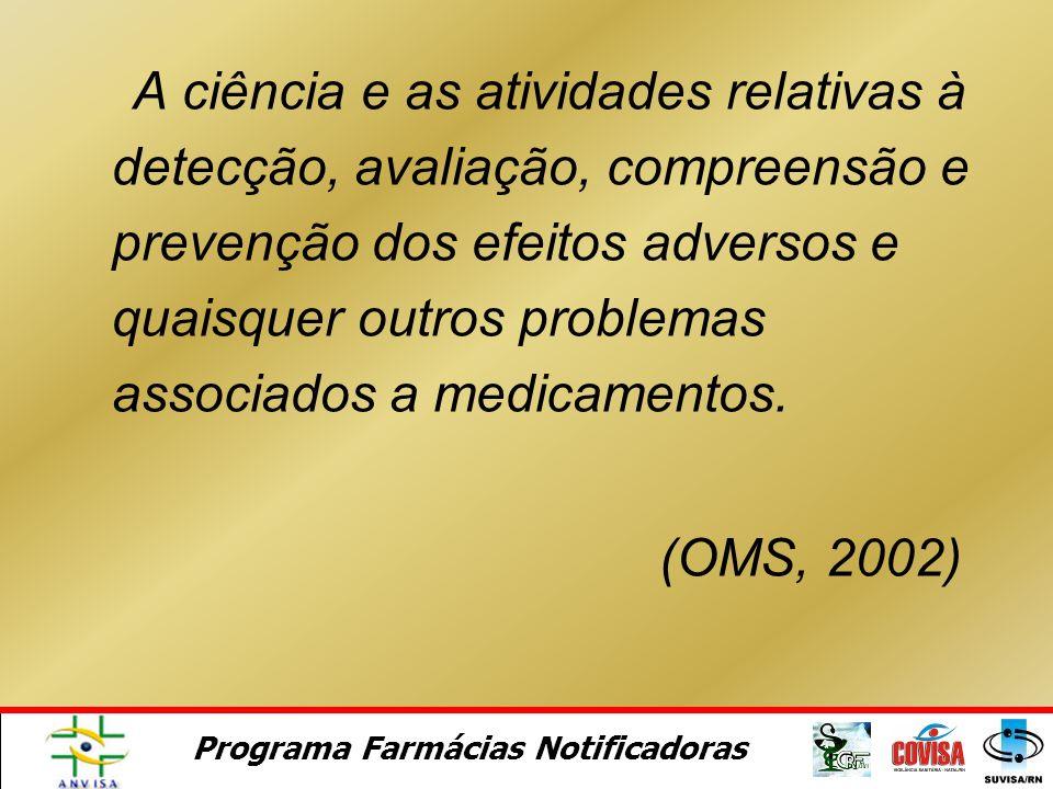 A ciência e as atividades relativas à detecção, avaliação, compreensão e prevenção dos efeitos adversos e quaisquer outros problemas associados a medicamentos.
