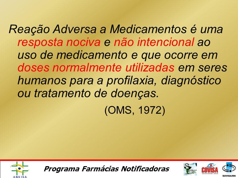 Reação Adversa a Medicamentos é uma resposta nociva e não intencional ao uso de medicamento e que ocorre em doses normalmente utilizadas em seres humanos para a profilaxia, diagnóstico ou tratamento de doenças.
