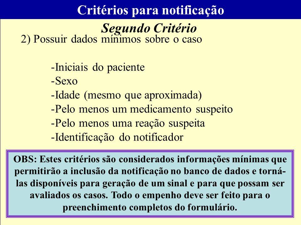 Critérios para notificação