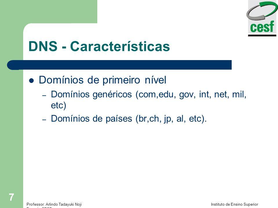 DNS - Características Domínios de primeiro nível