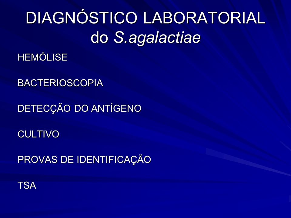 DIAGNÓSTICO LABORATORIAL do S.agalactiae