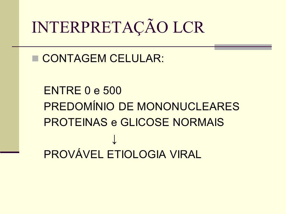 INTERPRETAÇÃO LCR CONTAGEM CELULAR: ENTRE 0 e 500