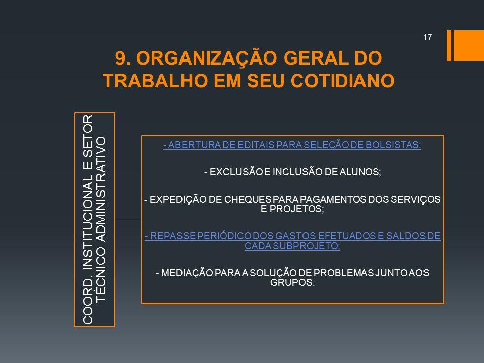 9. ORGANIZAÇÃO GERAL DO TRABALHO EM SEU COTIDIANO