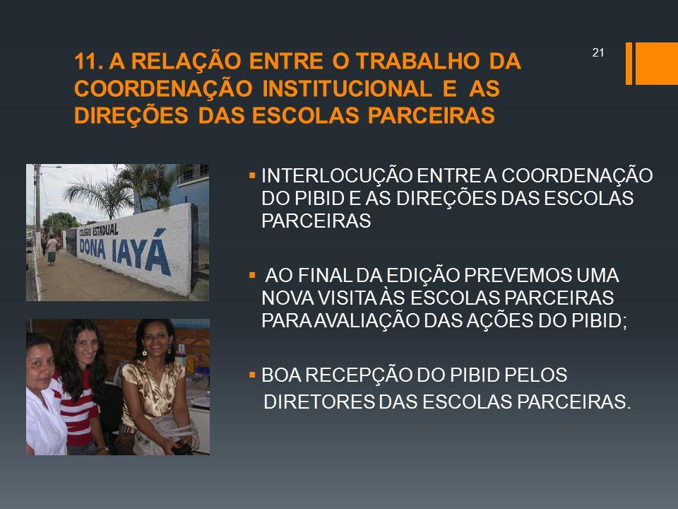 11. A RELAÇÃO ENTRE O TRABALHO DA COORDENAÇÃO INSTITUCIONAL E AS DIREÇÕES DAS ESCOLAS PARCEIRAS