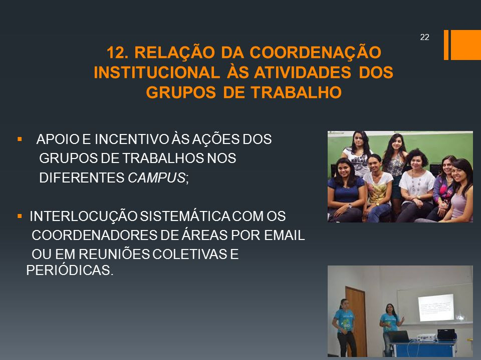 12. RELAÇÃO DA COORDENAÇÃO INSTITUCIONAL ÀS ATIVIDADES DOS GRUPOS DE TRABALHO
