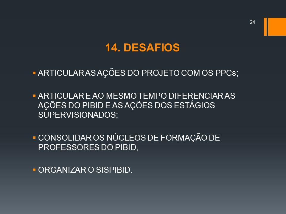 14. DESAFIOS ARTICULAR AS AÇÕES DO PROJETO COM OS PPCs;