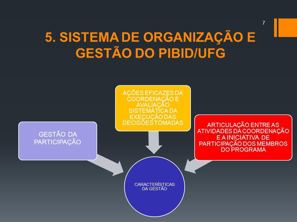 5. SISTEMA DE ORGANIZAÇÃO E GESTÃO DO PIBID/UFG
