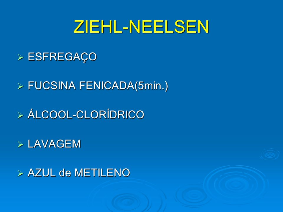 ZIEHL-NEELSEN ESFREGAÇO FUCSINA FENICADA(5min.) ÁLCOOL-CLORÍDRICO